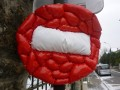 Road sign contaminated by a fat virus