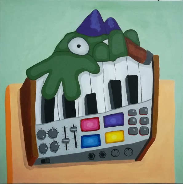 Gunnar's playing synthesizer